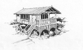 line drawing of a Koompartoo chalet